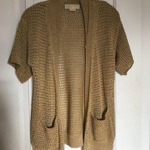 Michael Kors crochet knit short sleeve cardigan